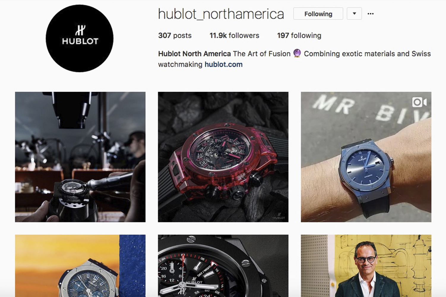 Instagram page for brands