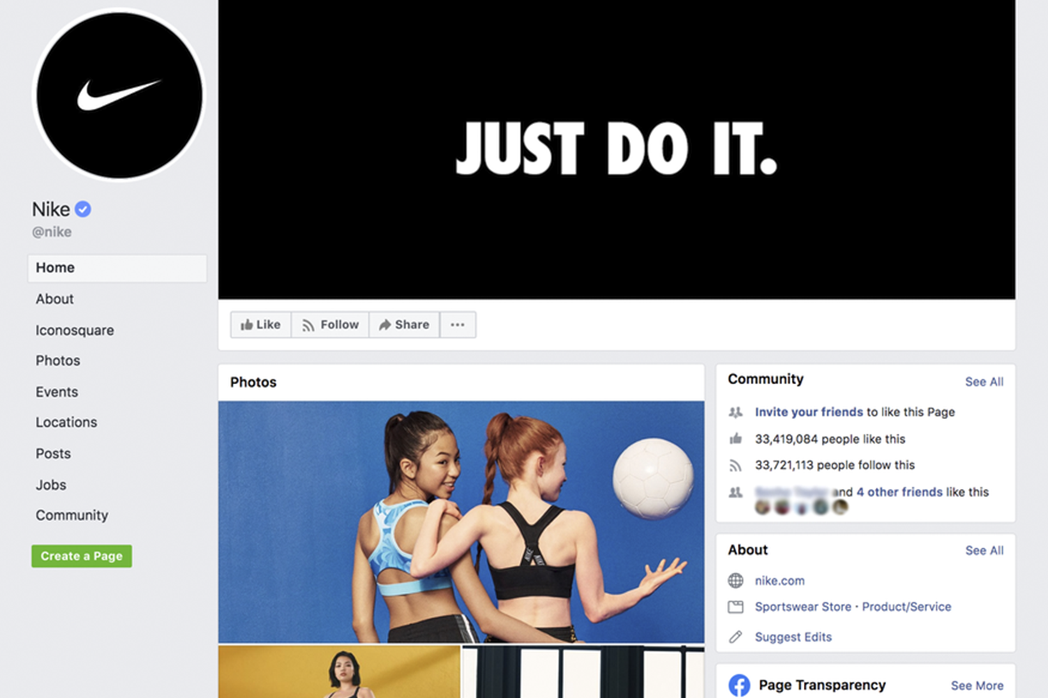 facebook page for brands